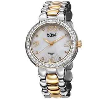 Burgi Women's Swiss Quartz Diamond Stainless Steel Two-Tone Bracelet Watch|https://ak1.ostkcdn.com/images/products/9082223/Burgi-Womens-Swiss-Quartz-Diamond-MOP-Stainless-Steel-Bracelet-Watch-P16272913.jpg?impolicy=medium