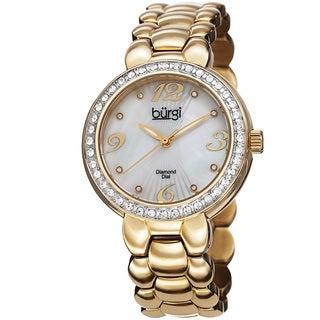 Burgi Women's Swiss Quartz Diamond Stainless Steel Gold-Tone Bracelet Watch with FREE Bangle