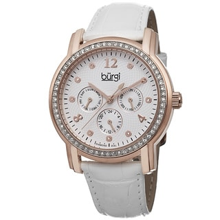 Burgi Women's Quartz Diamond Dial Multifunction Leather Rose-Tone Strap Watch