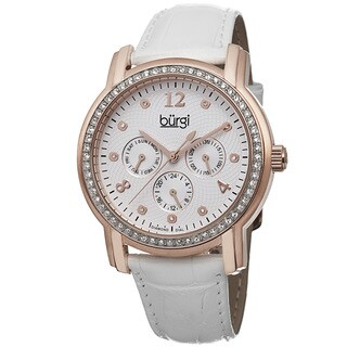 Burgi Women's Quartz Diamond Dial Multifunction Leather Rose-Tone Strap Watch