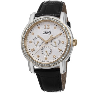Burgi Women's Quartz Diamond Dial Multifunction Leather Black Strap Watch