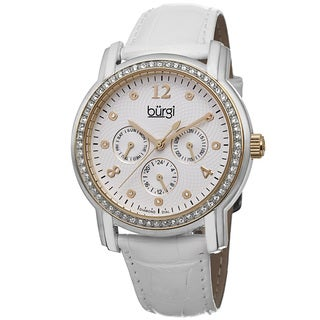 Burgi Women's Quartz Diamond Dial Multifunction Leather Gold-Tone Strap Watch