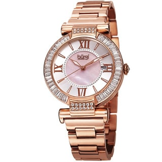 Burgi Women's Swiss Quartz Baguette Bezel Stainless Steel Rose-Tone Bracelet Watch