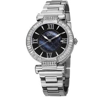 Burgi Women's Swiss Quartz Baguette Bezel Stainless Steel Silver-Tone Bracelet Watch
