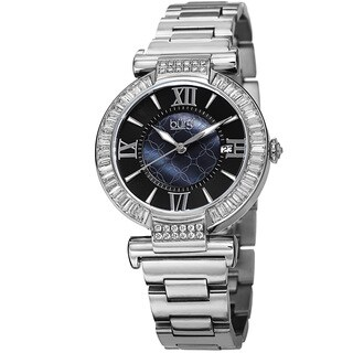 Burgi Women's Swiss Quartz Baguette Bezel Stainless Steel Silver-Tone Bracelet Watch