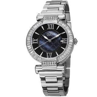 46dfe89ae67 Burgi Women s Swiss Quartz Baguette Bezel Stainless Steel Silver-Tone  Bracelet Watch