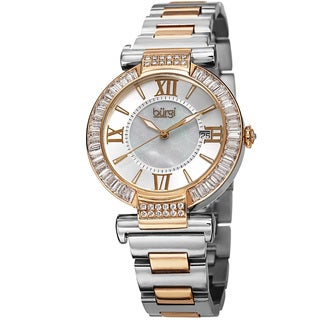 Burgi Women's Swiss Quartz Baguette Bezel Stainless Steel Two-Tone Bracelet Watch with FREE GIFT