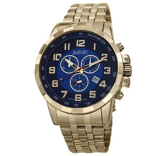 August Steiner Men's Swiss Quartz Chronograph Stainless Steel Gold-Tone Bracelet Watch