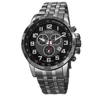 August Steiner Men's Swiss Quartz Chronograph Stainless Steel Black Bracelet Watch