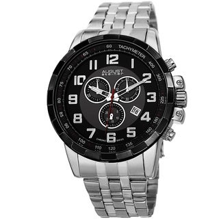 August Steiner Men's Swiss Quartz Chronograph Stainless Steel Silver-Tone Bracelet Watch