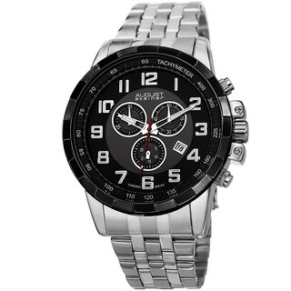 August Steiner Men's Swiss Quartz Chronograph Stainless Steel Silver-Tone Bracelet Watch with FREE GIFT