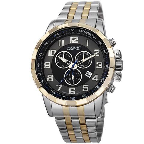 August Steiner Men's Swiss Quartz Chronograph Stainless Steel Two-Tone Bracelet Watch