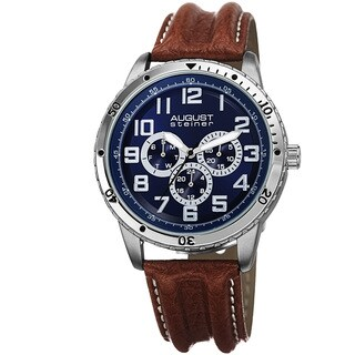 August Steiner Men's Quartz Multifunction Leather Brown Strap Watch with FREE GIFT