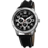 August Steiner Men's Quartz Multifunction Leather Silver-Tone Strap Watch