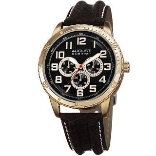 August Steiner Men's Quartz Multifunction Leather Gold-Tone Strap Watch
