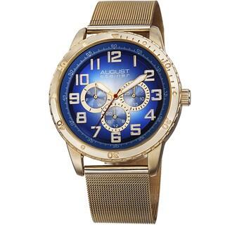 August Steiner Men's Quartz Multifunction Stainless Steel Mesh Gold-Tone Bracelet Watch
