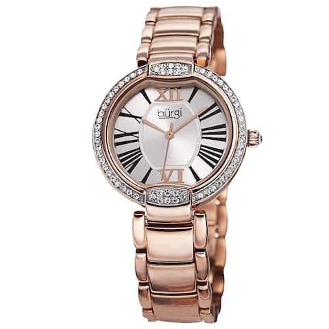 Burgi Women's Quartz Swarovski Crystal Stainless Steel Bracelet Watch