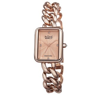Burgi Women's Swiss Quartz Diamond Chain Link Rose-Tone Bracelet Watch