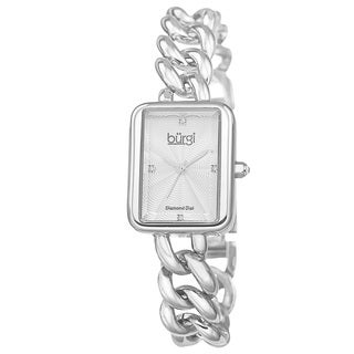 Burgi Women's Swiss Quartz Diamond Chain Link Silver-Tone Bracelet Watch