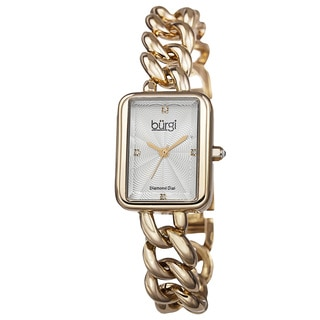 Burgi Women's Swiss Quartz Diamond Chain Link Gold-Tone Bracelet Watch
