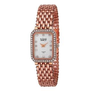 Burgi Women's Swiss Quartz Diamond Stainless Steel Rose-Tone Bracelet Watch