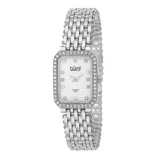 Burgi Women's Swiss Quartz Diamond Stainless Steel Silver-Tone Bracelet Watch with FREE GIFT