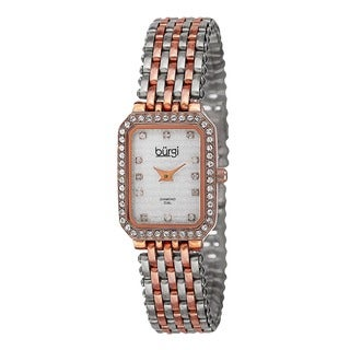 Burgi Women's Swiss Quartz Diamond Stainless Steel Two-Tone Bracelet Watch