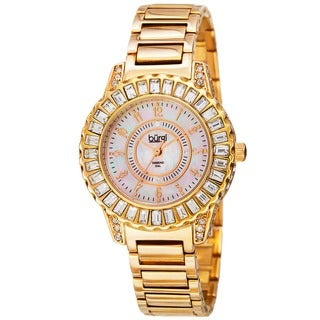 Burgi Women's Swiss Quartz Diamond Gold-Tone Bracelet Watch