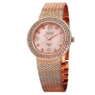 Burgi Women's Swiss Quartz Diamond Mesh Rose-Tone Bracelet Watch