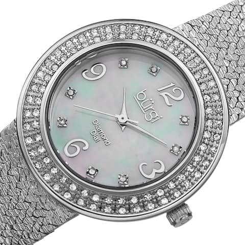 Burgi Women's Swiss Quartz Diamond Mesh Silver-Tone Bracelet Watch