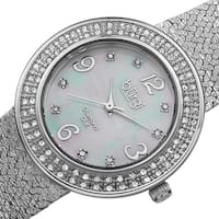 Burgi Women's Swiss Quartz Diamond Mesh Silver-Tone Bracelet Watch with FREE Bangle
