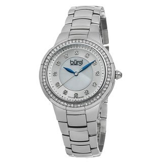 Burgi Women's Swiss Quartz Diamond Stainless Steel Silver-Tone Bracelet Watch