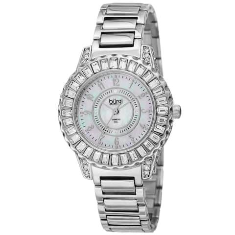 Burgi Women's Swiss Quartz Diamond Silver-Tone Bracelet Watch