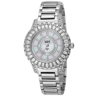 Burgi Women's Swiss Quartz Diamond Silver-Tone Bracelet Watch