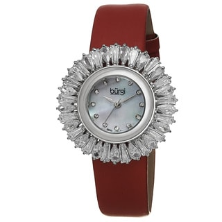 Burgi Women's Swiss Quartz Diamond Red Strap Watch