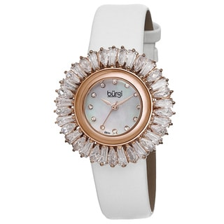Burgi Women's Swiss Quartz Diamond White Strap Watch