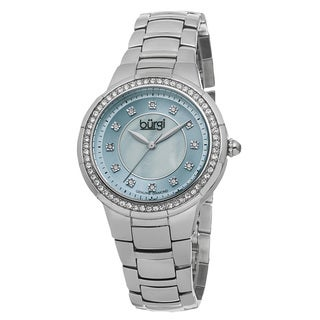 Burgi Women's Swiss Quartz Diamond Stainless Steel Blue Bracelet Watch with FREE Bangle