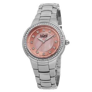 Burgi Women's Swiss Quartz Diamond Stainless Steel Pink Bracelet Watch with FREE Bangle