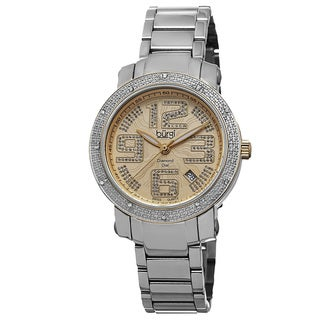 Burgi Women's Quartz Diamond-Accented Stainless Steel Two-Tone Bracelet Watch