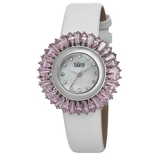 Burgi Women's Swiss Quartz Diamond Pink Strap Watch