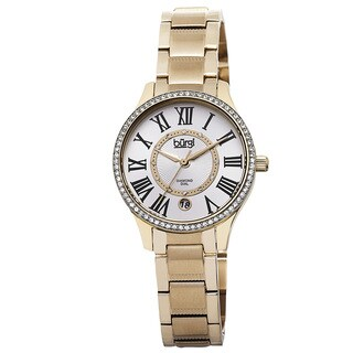 Burgi Women's Quartz Diamond Dial Stainless Steel Gold-Tone Bracelet Watch