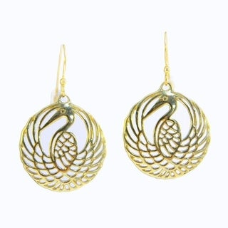 Hand-crafted 'Golden Heron' Filigree Dangle Earrings (Indonesia)