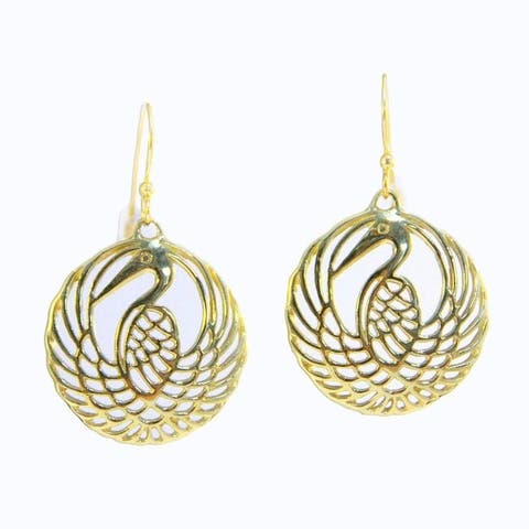 Handmade Brass 'Golden Heron' Filigree Dangle Earrings (Indonesia)