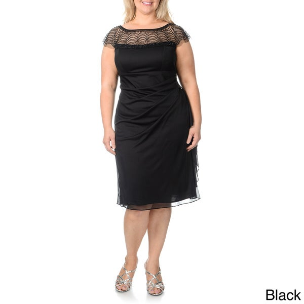 Shop R & M Richards Women\'s Plus Size Embellished Neckline Evening ...