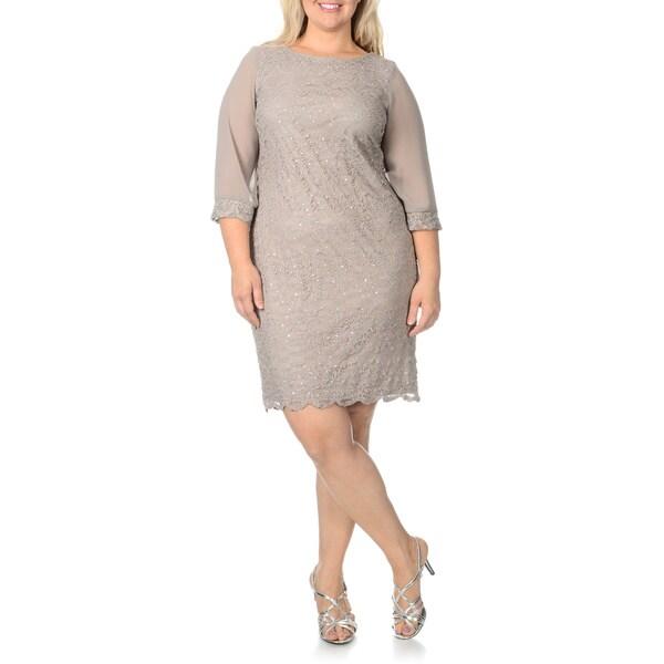 Shop R M Richards S Plus Size Mocha Sequin Embellished Lace Evening ...