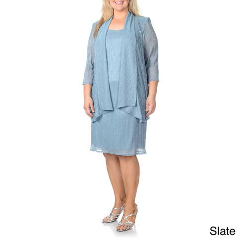 R & M Richards Women's Plus Size Fortuny Pleated Metallic 2-piece Dress