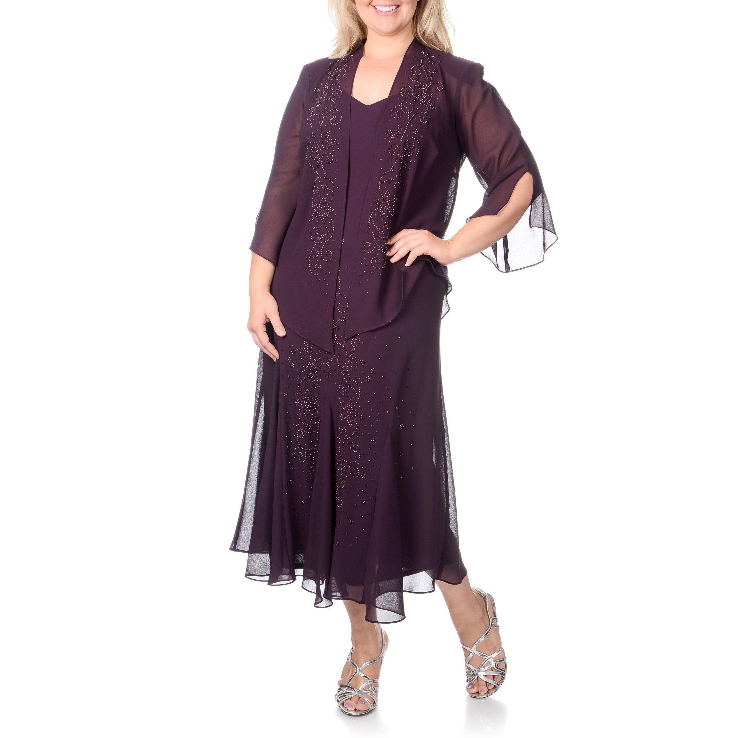 R&M Richards Women\'s Plus Size Caviar Beaded Detail 2-piece Dress