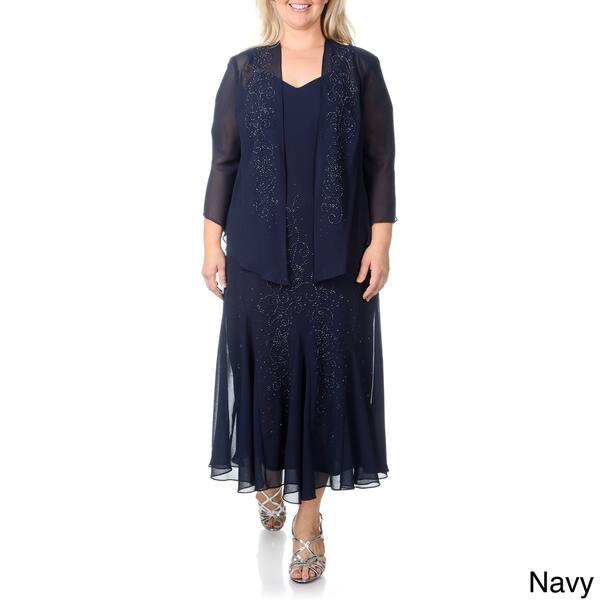 Shop R&M Richards Women\'s Plus Size Caviar Beaded Detail 2 ...