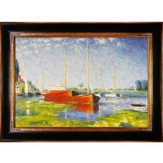 Claude Monet 'Red Boats at Argenteuil' Hand Painted Framed Canvas Art
