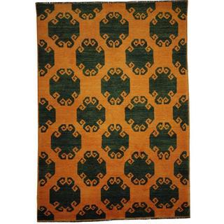 Herat Oriental Afghan Hand-knotted Vegetable Dye Oushak Wool Rug (5' x 7'1)